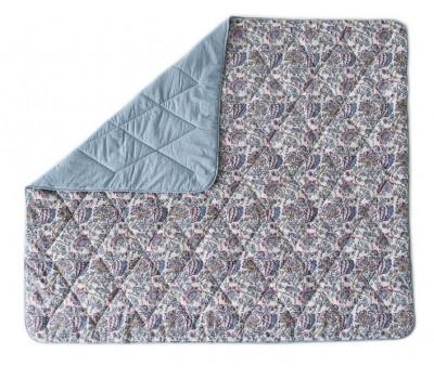 Одеяло-покрывало 2 спальное (Цветочная вуаль) голубой