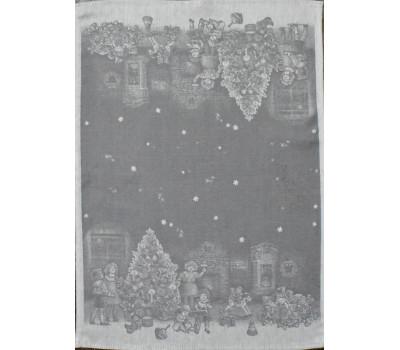 Полотенце 50*70 Новогодние игрушки (серый)