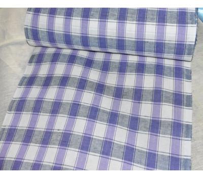 Льняная полотенечная ткань в клетку (сиреневый)