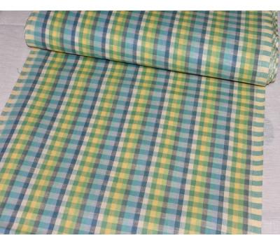 Льняная полотенечная ткань в клетку (зелёный)