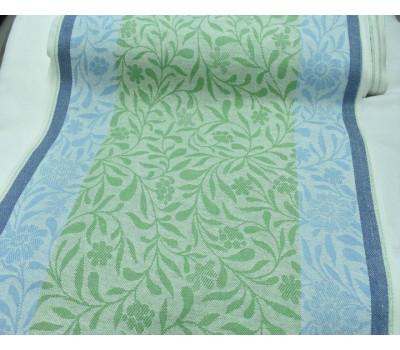 Холст жаккардовый Ромашка (зелёный-голубой)