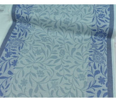 Холст жаккардовый Ромашка (серый-синий)