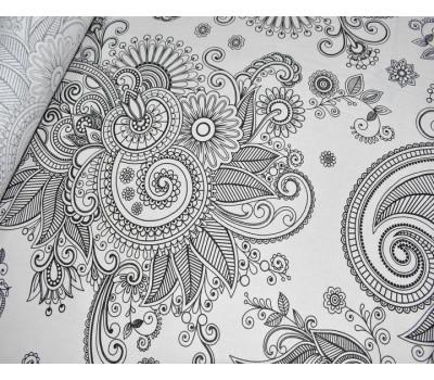 """Полулён постельный с рисунком """"Мандалина"""" белый фон"""