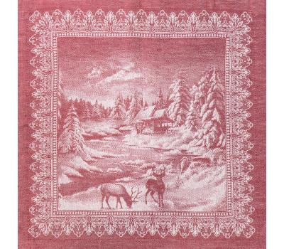 16с-11 Салфетка (Рождество в лесу) 45*45 красный
