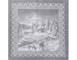 16с-11 Салфетка (Рождество в лесу) 45*45 серый