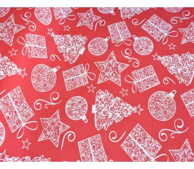 "1855 Ткань с рисунком ""Подарки"" на красном"