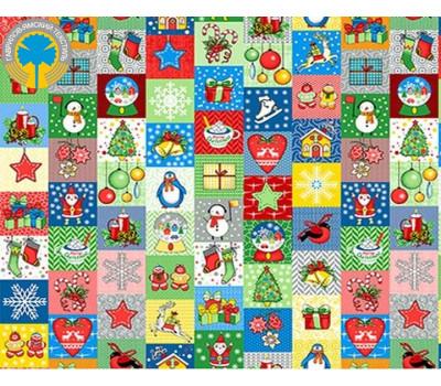 """Рогожка с рисунком """"Новогодняя мозайка"""""""