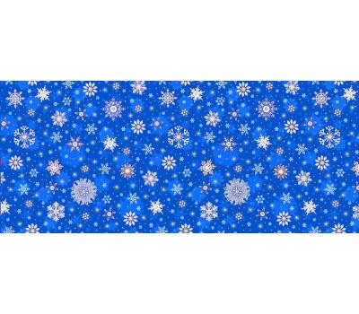 Полотно вафельное 150 см (Снежинки) синий