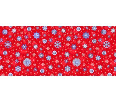 Полотно вафельное 150 см (Снежинки) красный